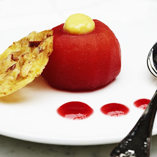 Raspberry Poached Apples With White Chocolate And Fennel Cream