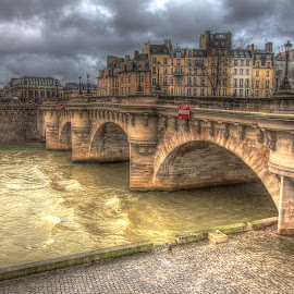 Paris Bridge by Ben Hodges - Buildings & Architecture Bridges & Suspended Structures ( seine, paris, louvre, park, hdr, france, bridge, travel, rain, river )