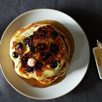Lemony Cream Cheese Pancakes with Blueberries