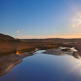Twin Suns of Point Reyes by Nicolas Raymond - Landscapes Waterscapes ( bright, reflected, shine, wide-angle, vibrant, yellow, travel, glow, californian, colour, muddy, of, colourful, sky, mud, nature, surreal, light, black, orange, hill, starburst, colors, california, white, symmetric, burst, tourism, united states, somadjinn, rural, colours, sunburst, touristic, reyes, scene, symmetry, puddle, flare, natural, reflection, america, colorful, waterscape, vivid, reflections, shining, landscape, usa, sun, mirror, twin, fantasy, point reyes, symmetrical, nicolas raymond, sunny, suns, pond, water, hdr, ethereal, scenic, solar, marin county, point, cyan, color, blue, wide angle, brown, scenery, glowing,  )
