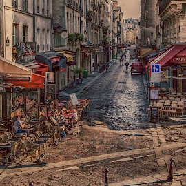 Early Morning Paris by Sheldon Anderson - City,  Street & Park  Street Scenes ( chair, paris, chldren, sitting, chairs, coffee, artistic, cafe, street scene, morning )