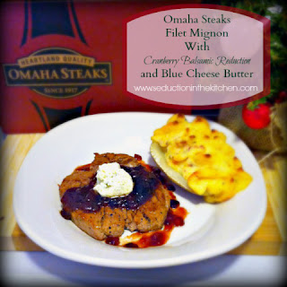#ad #omahasteaksgifts Omaha Steaks Filet Mignon With Cranberry Balsamic Reduction and Blue Cheese Butter #ad