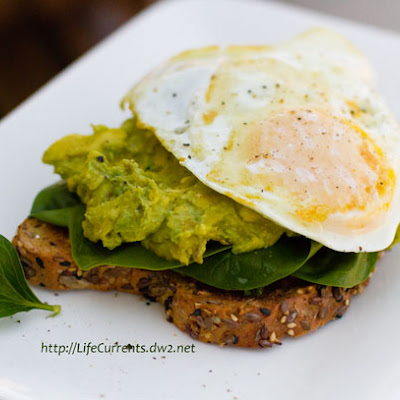 Open Faced Avocado-Miso Toasts with a Fried Egg