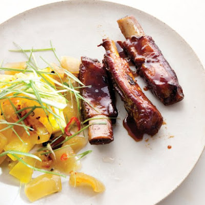 Glazed Spareribs with Watermelon-Rind Chutney