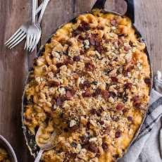 Butternut Squash + Charred Brussels Mac and Cheese with Buttery Bacon Ritz Crackers.