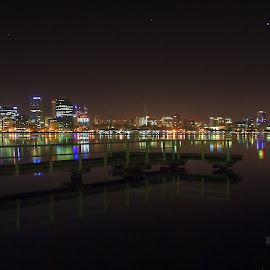 by Matty Gott - City,  Street & Park  Skylines ( west australia, perth, night, swan river,  )