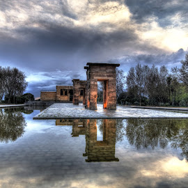 Debod Temple by Rino Calori - City,  Street & Park  City Parks ( hdr, debod temple, madrid, reflections, spain )