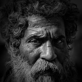 Faces of India by Dimitar Pavlov - Black & White Portraits & People ( faces, rajasthan, india, men, people )