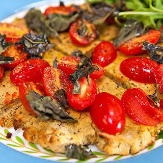 Cauliflower Pizza Base with Tomato, Basil and Olive Oil (vegan, vegetarian, gluten and dairy free)