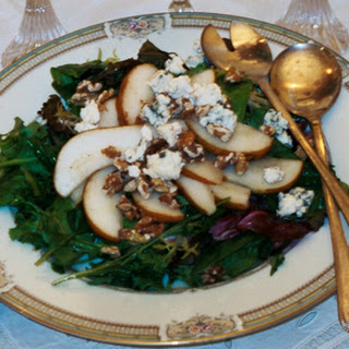 Caramelized Pear Salad with Toasted Walnuts on Mixed Young Greens