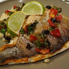 Pan Fried Seabass Fillet With Salsa Sauce and Couscous