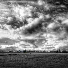 big cloud by Todd Reynolds - Landscapes Cloud Formations ( black and white, b&w, landscape )