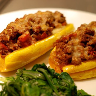 Delicata Squash Stuffed with Spiced Meat and Tomatoes (serves 2) and a side of Sauteed Chard