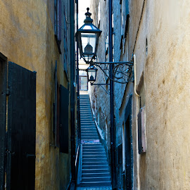 Stockholm by Stefan Friedhoff - City,  Street & Park  Historic Districts ( lantern, stairs, stockholm, street, lamp )