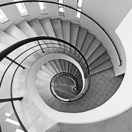 Spiral Staircase by Renée Politzer Nass - Buildings & Architecture Architectural Detail ( circular, staircase, white, spiral, black )
