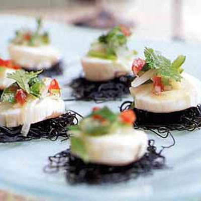 Scallop Ceviche on Black Pasta Cakes with Cilantro Salsa