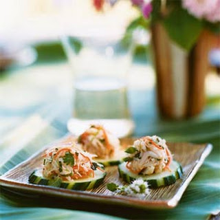 Crab Salad on Cucumber Rounds