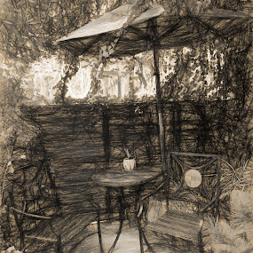 A Patio by Dennis Granzow - Digital Art Things ( patio furniture, digital art, patio, artistic object, drawing )