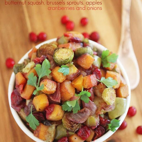 Roasted Butternut Squash and Brussels Sprouts with Cranberries, Apples ...