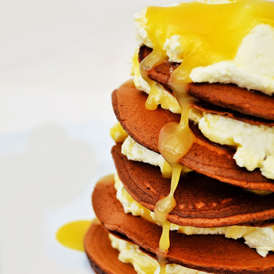 Chocolate Pancakes with Lemon Curd