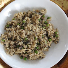 Wild Mushroom Risotto With Peas (Shrimp Too!)
