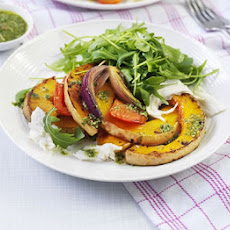 Roasted Squash With Pesto & Mozzarella