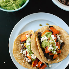 Vegetarian Sweet Potato and Black Bean Tacos with Avocado-Pepita Dip