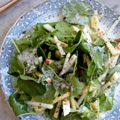 Kohlrabi, Apple, and Watercress Salad with Sumac Yogurt Dressing