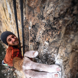 Crimping by Ryan Skeers - Sports & Fitness Climbing ( climbing, the grail, crux, sport climbing, nevada, clipping bolts )