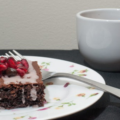 Dark Chocolate and Pomegranate Spice Cake