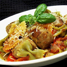 Italian Turkey Sausage and Peppers With Bow Tie Pasta