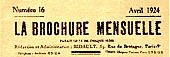 La Brochure mensuelle, masthead 1927