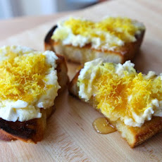 Challah Bruschetta with Lemon Ricotta and Honey