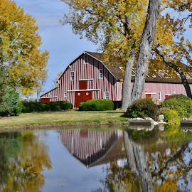 Scout Rest Ranch Barn by Linda Earhart-Knepp - Buildings & Architecture Statues & Monuments ( fresh paint, north platte, nebraska, cody barn.  buffalo bill cody ranch, cody rest ranch )