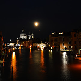 Canal Grande at Night by Marieke Fechner - City,  Street & Park  Skylines ( church, venice, long exposure, night, . grande, canal, city )