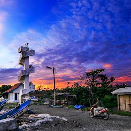 sayang heulang beach by Yusnadi Gunawan - Landscapes Sunsets & Sunrises ( touring, tower, sunset, sunrise, beach )
