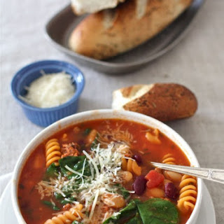 Sausage, Bean & Pasta Soup with Spinach
