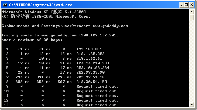screenshot of Godaddy.com tracert result