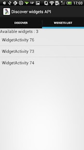 Discover widgets API for TAUG - screenshot