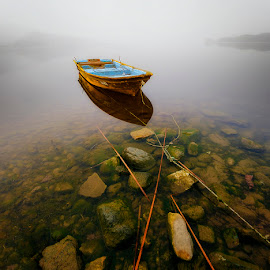 Waiting in Silence by Jeff Vallejos - Landscapes Waterscapes ( fog, sunrise, boat, lonely, river,  )
