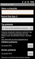 Screenshot of SMS platby - MHD, parkovne