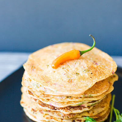 Indian Savory Pancakes (Semolina and Yogurt Pancakes)