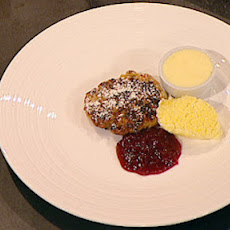 Warm Welsh cakes with whimberry compote