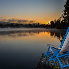 Relax by Ewa Nilsson - Landscapes Sunsets & Sunrises ( water, chair, sweden, fog, lapland, trees, sunrise )