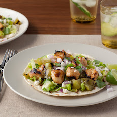Grilled Chicken Tostadas al Carbon with Grilled Tomatillos and Queso Fresco
