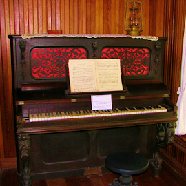 Old piano by Priscilla Renda McDaniel - Artistic Objects Musical Instruments ( music, old, piano, stool, sheet music,  )