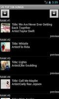 Screenshot of US TOP 100 SONGS