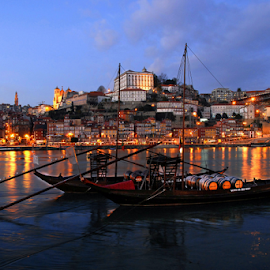 Porto City by Antonio Amen - Landscapes Travel ( boats, night, portugal, rabelos, porto, world heritage patrimony )