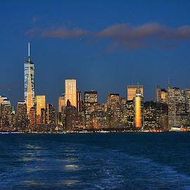 New York City Skyline by Kaushik Datta - City,  Street & Park  Skylines ( skyline, skyscraper, world trade center, nyc )