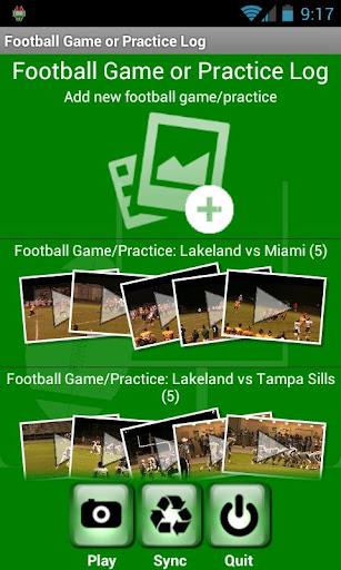 Football Game or Practice Log